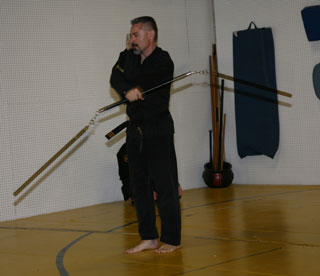 Master Pete performing a three-section staff form