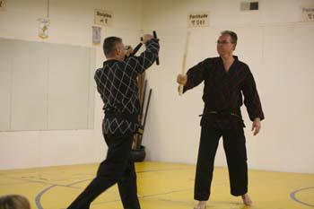 Master Pete blocking with tonfa